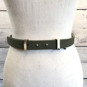 White House Black Market Olive Green Leather Belt